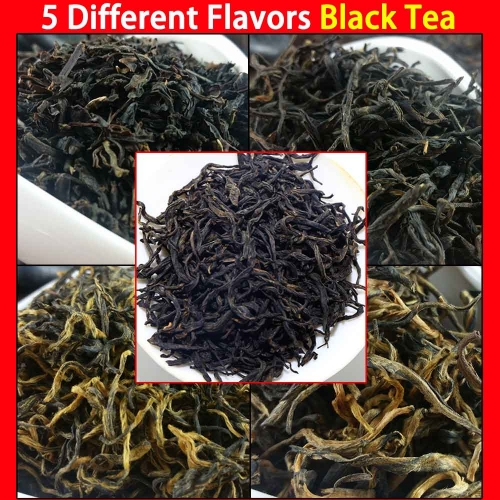 5 Different Flavors Black Tea including Lichee black tea, Keemun Gongfu, Kim Chun Mei, Dian Hong, Lapsang Souchong 50g in Total  premium quality tea