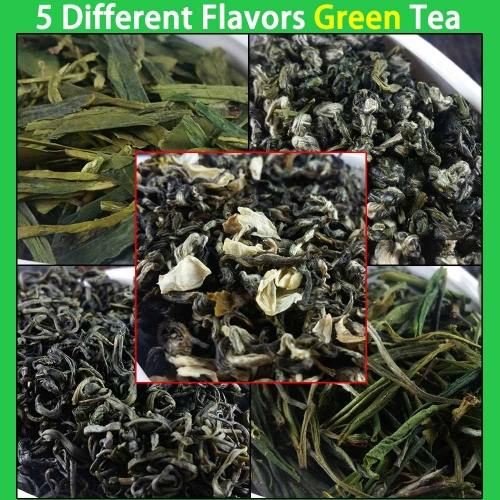 5 Different Flavors Green Tea Organic Food Include Dragon Well Long Jing, BiLuoChun, Mao Jian, Mao Feng, Jasmine Te 50g In Total premium quality tea