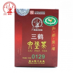 Three Cranes Sanhe 2014 Golden Flower Liu Pao Loose Dark Tea 0129 Box Tea Hei Cha 100g