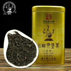 Three Cranes Sanhe 2019 Liu Pao Tea Loose Dark Tea Guangxi Wuzhou Liupao Box Teas Hei Cha Golden Jar 200g